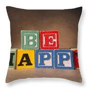 Be Happy - Jabberblocks Throw Pillow
