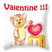 Be My Valentine Teddy Bear Throw Pillow
