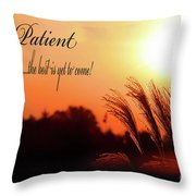 Be Patient Throw Pillow by Cathy  Beharriell