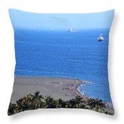 Beach And Ocean On Chijin Island Throw Pillow