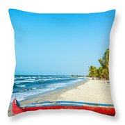 Beach And Red Canoe Throw Pillow