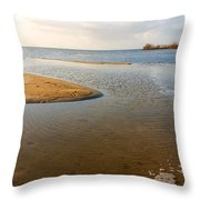 Beach And Rippled Water At The Wadden Sea. Throw Pillow