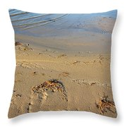 Beach And Rippled Water. Throw Pillow