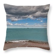 Beach And Ships. Throw Pillow