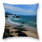Beach At Ecola State Park Throw Pillow