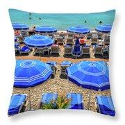 Beach At Nice France Throw Pillow