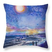 Beach At Night Throw Pillow by Patricia Allingham Carlson