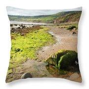 Beach At Robin Hoods Bay Throw Pillow by Deborah Benbrook