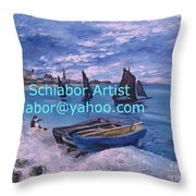 Beach At Saint Address Throw Pillow