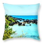 Beach At St. George Bermuda Throw Pillow