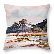 Beach At Waikiki Throw Pillow