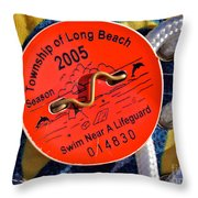 Beach Badge 2005 Throw Pillow