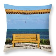 Beach Bench Throw Pillow