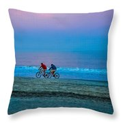 Beach Biking  Throw Pillow