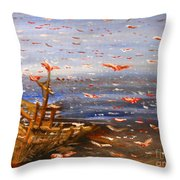 Beach Boat And Birds Throw Pillow