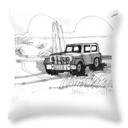 Beach Buggy Ocracoke 1970s Throw Pillow