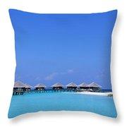 Beach Cabanas, Baros, Maldives Throw Pillow