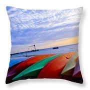 Beach Canoe Throw Pillow