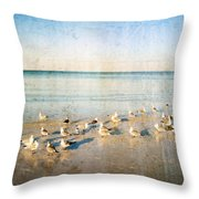 Beach Combers - Seagull Art By Sharon Cummings Throw Pillow