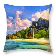 Beach Cove On La Digue Throw Pillow