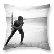 Beach Cricket Throw Pillow