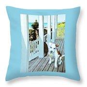 Beach Dog 1 Throw Pillow
