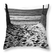 Beach Entry Black And White Throw Pillow