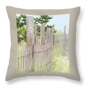 Beach Fence Throw Pillow