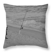 Beach Fishing Throw Pillow