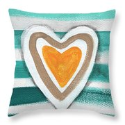 Beach Glass Hearts Throw Pillow