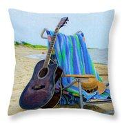 Beach Guitar Throw Pillow