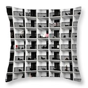 Beach Hotel Throw Pillow