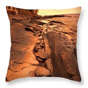 Beach House On Rocky Shore Throw Pillow