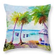 Beach House Tropical Paradise Throw Pillow
