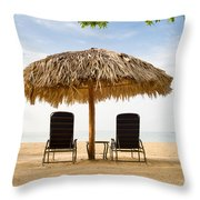 Beach Hut For Two Throw Pillow