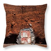 Beach Hut Santorini Style Throw Pillow
