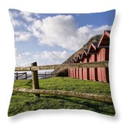 Beach Huts At Branscombe Throw Pillow