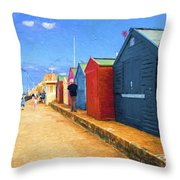 Beach Huts At Cromer Throw Pillow