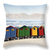 Beach Huts At Muizenberg Throw Pillow