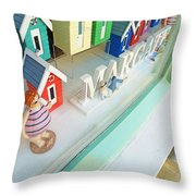 Beach Huts For Sale Throw Pillow