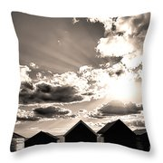 Beach Huts In Black And White Throw Pillow