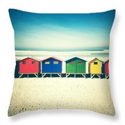 Beach Huts Muizenberg Retro Throw Pillow