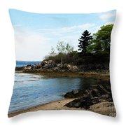 Beach In Maine Throw Pillow