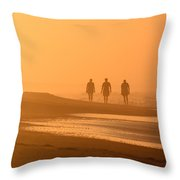 Beach Landscape Silhouetted Sunrise Walkers Nc Throw Pillow