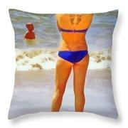 Beach Mom Throw Pillow