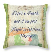 Beach Notes-e Throw Pillow by Jean Plout