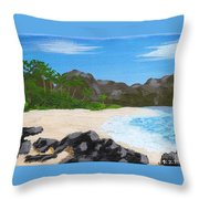 Beach On Helicopter Island Throw Pillow