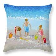 Beach Painting - Sandcastles Throw Pillow