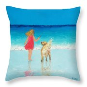 Beach Painting 'sunkissed Hair'  Throw Pillow