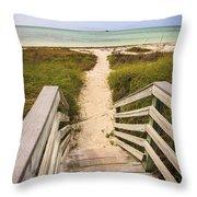 Beach Path Throw Pillow by Adam Romanowicz